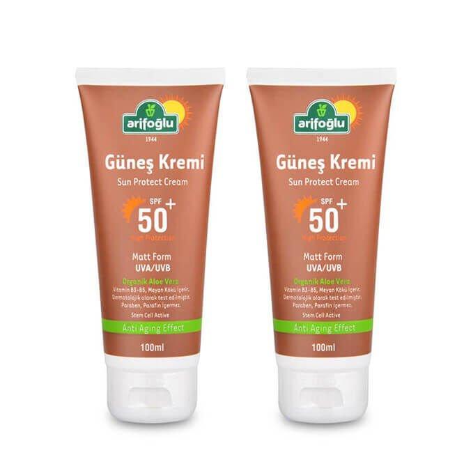 Güneş Kremi 50+ Organik Aloe Veralı Anti Aging (2 Adet)